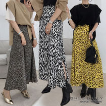 Flared Skirts Leopard Patterns Casual Style Medium Long