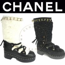 CHANEL ICON Plain Toe Mountain Boots Lace-up Casual Style