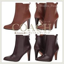 Coach Plain Leather Pin Heels Elegant Style High Heel Boots