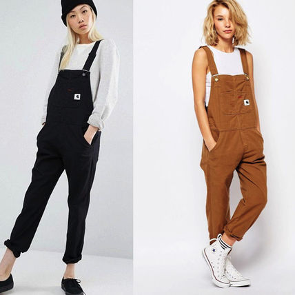 Dungarees Casual Style Denim Street Style Plain Dresses
