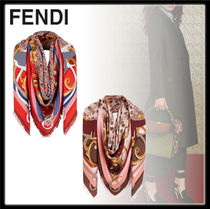FENDI Wool Silk Party Style Office Style Elegant Style Accessories