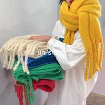 Unisex Plain Fringes Knit & Fur Scarves