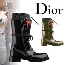 Christian Dior Tartan Rubber Sole Casual Style Plain Ankle & Booties Boots