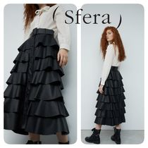 Sfera Casual Style Faux Fur Plain Medium Midi Skirts