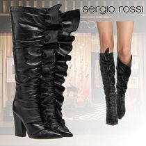 Sergio Rossi Casual Style Plain Leather Block Heels Chunky Heels