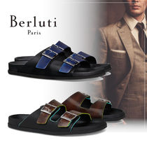 Berluti Street Style Bi-color Plain Leather Shower Shoes