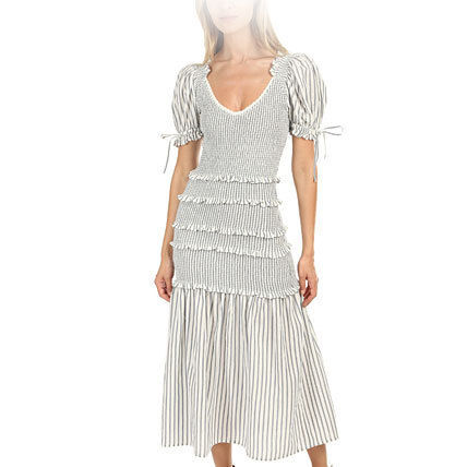 Stripes Cotton Midi Dresses