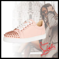 Christian Louboutin Ac Vieira Lace-up Casual Style Studded Street Style Plain Leather