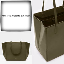 Purificacion Garcia Casual Style A4 Plain Leather Office Style Formal Style