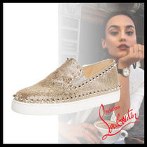 Christian Louboutin Casual Style Studded Street Style Plain Leather