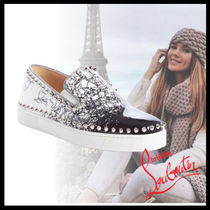 Christian Louboutin Casual Style Studded Street Style Leather Slip-On Shoes