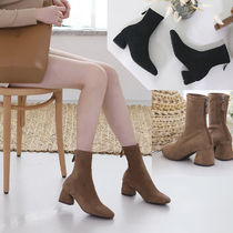 Round Toe Casual Style Suede Faux Fur Plain Chunky Heels