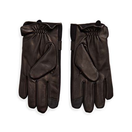 Ralph Lauren Wool Plain Leather Logo Leather & Faux Leather Gloves