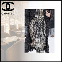 CHANEL Pencil Skirts Casual Style Wool Tweed Medium Party Style