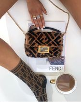 FENDI Calfskin Fur 2WAY Chain Shoulder Bags