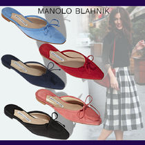 Manolo Blahnik Casual Style Suede Blended Fabrics Plain Leather