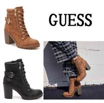 Guess Round Toe Casual Style Faux Fur Plain Chunky Heels