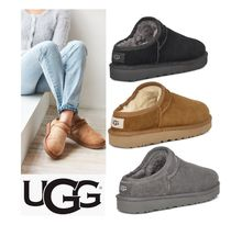UGG Australia CLASSIC SLIPPER Round Toe Rubber Sole Sheepskin Slip-On Shoes
