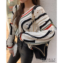 Cable Knit Casual Style V-Neck Long Sleeves Medium Knitwear