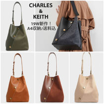 Charles&Keith Casual Style Faux Fur Blended Fabrics Studded A4 Bi-color