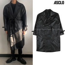ASCLO Street Style Collaboration Plain Long Trench Coats
