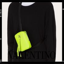 VALENTINO VRING Leather Logo Clutches