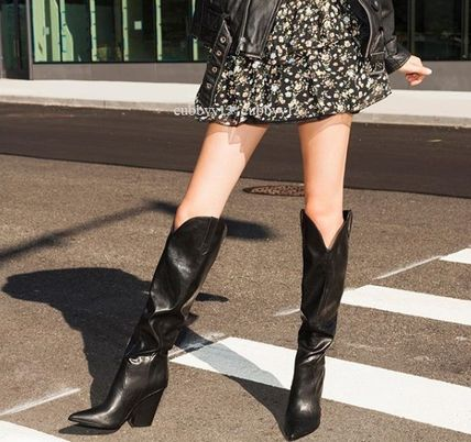 Blended Fabrics Plain Boots Boots