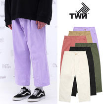 TWN Unisex Street Style Plain Cotton Khaki Cropped Pants