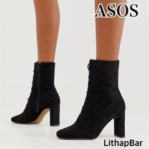 ASOS Square Toe Lace-up Casual Style Plain Block Heels