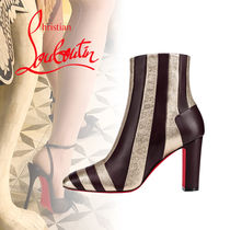 Christian Louboutin Stripes Blended Fabrics Street Style Bi-color Leather