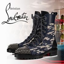 Christian Louboutin Camouflage Blended Fabrics Studded Leather Boots Boots