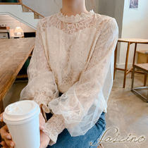 Flower Patterns Long Sleeves Plain Medium Lace Elegant Style