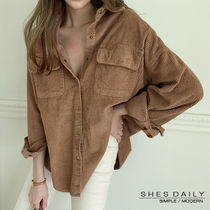 Casual Style Corduroy Long Sleeves Plain Cotton Medium