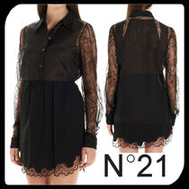 N21 numero ventuno Silk Long Sleeves Plain Medium Lace Elegant Style