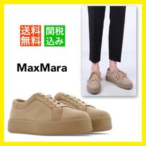 MaxMara Round Toe Rubber Sole Lace-up Casual Style Unisex