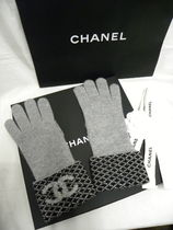 CHANEL Other Plaid Patterns Cashmere Blended Fabrics Logo Asymmetry