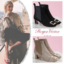 Roger Vivier Square Toe Suede Blended Fabrics Plain Leather Block Heels