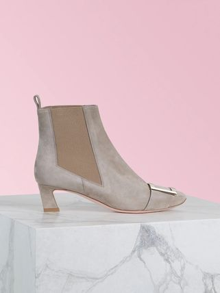Square Toe Suede Blended Fabrics Plain Leather Block Heels
