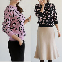 Cable Knit Short Stripes Leopard Patterns Casual Style Wool