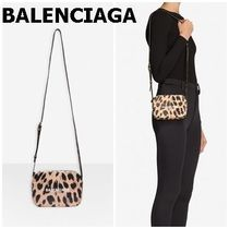BALENCIAGA EVERYDAY TOTE Leopard Patterns Casual Style Calfskin Crossbody Logo