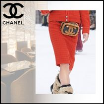 CHANEL Pencil Skirts Wool Tweed Medium Party Style Elegant Style