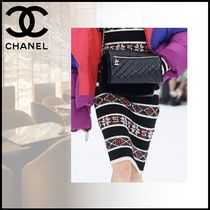 CHANEL Pencil Skirts Stripes Casual Style Cashmere Medium