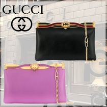 GUCCI Casual Style 2WAY Chain Plain Leather Party Style