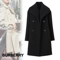 Burberry Casual Style Wool Plain Leather Long Elegant Style Peacoats