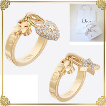 Christian Dior Costume Jewelry Star Clover Brass Elegant Style Rings