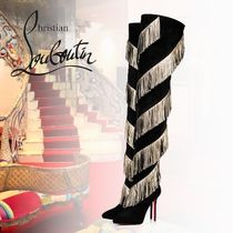 Christian Louboutin Velvet Party Style Fringes Over-the-Knee Boots
