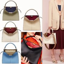 FENDI PEEKABOO Calfskin A4 2WAY Plain Handbags