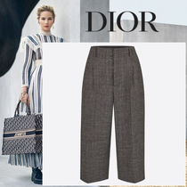 Christian Dior Wool Tweed Plain Medium Short Length Culottes