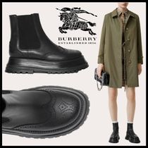Burberry Round Toe Casual Style Sheepskin Ankle & Booties Boots