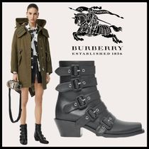 Burberry Open Toe Square Toe Casual Style Plain Ankle & Booties Boots